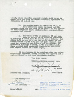 Autographs: ABBOTT & COSTELLO (LOU COSTELLO) - DOCUMENT SIGNED 03/21/1949