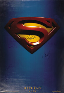 Autographs: SUPERMAN RETURNS MOVIE CAST - POSTER SIGNED CO-SIGNED BY: KEVIN SPACEY, BRYAN SINGER, BRANDON ROUTH, JAMES MARSDEN