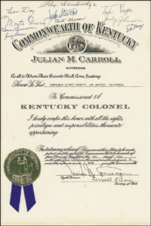 GOVERNOR JULIAN M. CARROLL - DOCUMENT SIGNED 07/02/1979 CO-SIGNED BY: RAY DANDRIDGE, JUDY JOHNSON, MONTE IRVIN, LEON DAY, GENE BENSON, JIMMY DORAN, JAKE STEVENS, CLINT THOMAS, TED PAGE, DON MAYS, QUINCY TROUPE, JR., DREXELL R. DAVIS