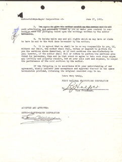 LOUIS B. MAYER - DOCUMENT SIGNED 06/27/1931