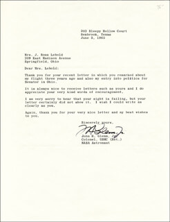 JOHN GLENN - TYPED LETTER SIGNED 06/05/1965