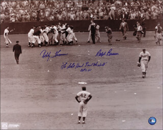 RALPH HAWK BRANCA - AUTOGRAPHED SIGNED PHOTOGRAPH CO-SIGNED BY: BOBBY THOMSON