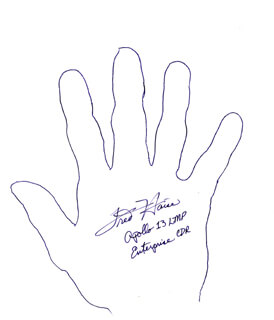 Autographs: FRED W. HAISE JR. - HAND/FOOT PRINT OR SKETCH SIGNED