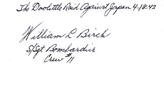 Autographs: WILLIAM L. BIRCH - SIGNATURE(S)