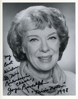 JOYCE RANDOLPH - AUTOGRAPHED INSCRIBED PHOTOGRAPH 1998