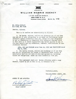 BILLY GILBERT - DOCUMENT SIGNED 03/30/1953
