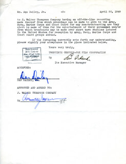 DAN DAILEY - DOCUMENT SIGNED 04/20/1949 CO-SIGNED BY: LEW SCHREIBER