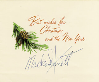 MACK THE KING OF COMEDY SENNETT - CHRISTMAS / HOLIDAY CARD SIGNED