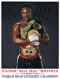 EVANDER HOLYFIELD - AUTOGRAPHED SIGNED PHOTOGRAPH