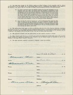 HANK WILLIAMS SR. - DOCUMENT SIGNED 11/03/1947 CO-SIGNED BY: FRED ROSE, WESLEY H. ROSE