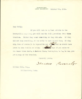 PRESIDENT THEODORE ROOSEVELT - TYPED LETTER SIGNED 10/07/1915