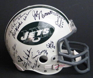 NEW YORK JETS - HELMET SIGNED CIRCA 1969 CO-SIGNED BY: JOHN SCHMITT, JOE NAMATH, JOHN ELLIOTT, DON MAYNARD, EMERSON BOOZER, RALPH BAKER, MATT SNELL, BILL MATHIS, BAKE TURNER, CURLEY JOHNSON, DAVE HERMAN, AL ATKINSON, BILL BAIRD, JIM HUDSON, RANDY BEVERLY, LARRY GRANTHAM, PAUL ROCHESTER, WINSTON HILL, PETE LAMMONS, CORNELL GORDON, RANDY RASMUSSEN, GEORGE SAUER JR., GERRY PHILBIN, EARL CHRISTY, JOHNNY SAMPLE