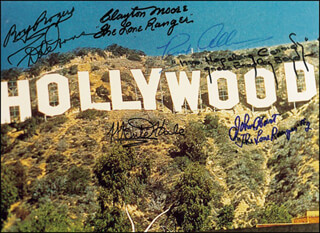 ROY ROGERS - AUTOGRAPHED SIGNED PHOTOGRAPH CO-SIGNED BY: MONTE HALE, CLAYTON THE LONE RANGER MOORE, DALE EVANS, JOHN HART, REX ALLEN, GRACE BRADLEY BOYD