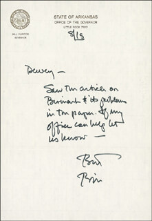 PRESIDENT WILLIAM J. BILL CLINTON - AUTOGRAPH LETTER SIGNED 08/15