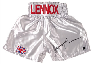 LENNOX LEWIS - BOXING TRUNKS SIGNED