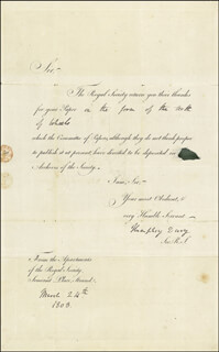 Autographs: SIR HUMPHRY DAVY - DOCUMENT SIGNED 08/24/1808