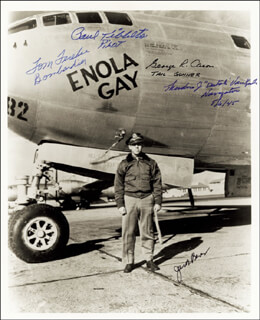 Autographs: ENOLA GAY CREW - PHOTOGRAPH SIGNED CO-SIGNED BY: ENOLA GAY CREW (THEODORE VAN KIRK), ENOLA GAY CREW (JACOB BESER), ENOLA GAY CREW (GEORGE R. CARON), ENOLA GAY CREW (PAUL W. TIBBETS), ENOLA GAY CREW (COLONEL THOMAS W. FEREBEE)