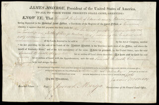 PRESIDENT JAMES MONROE - LAND GRANT SIGNED 09/13/1820 CO-SIGNED BY: JOSIAH MEIGS