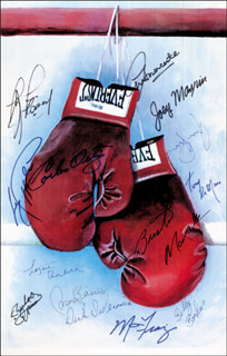 Autographs: CARLOS ORTIZ - PRINTED ART SIGNED CO-SIGNED BY: JOEY MAXIM, MARVIS FRAZIER, BILLY BACKUS, RUBEN OLIVARES, GERRY COONEY, CARMEN BASILIO, TONY DE MARCO, AARON PRYOR, ARTHUR MERCANTE, LIVINGSTONE BRAMBLE, DICK DIVERONICA