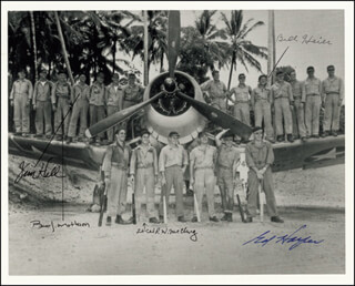 Autographs: BLACK SHEEP SQUADRON - PHOTOGRAPH SIGNED CO-SIGNED BY: LT. COLONEL JAMES J. HILL, COLONEL EDWIN A. HARPER, GENERAL BRUCE J. MATHESON, COLONEL ROBERT W. McCLURG, COLONEL BILL HEIER