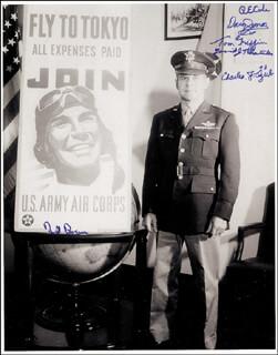 DOOLITTLE RAIDERS - AUTOGRAPHED SIGNED PHOTOGRAPH CO-SIGNED BY: DAVID J. THATCHER, COLONEL WILLIAM M. BILL BOWER, COLONEL RICHARD E. COLE, MAJOR GENERAL DAVY (DAVID M.) JONES, MAJOR THOMAS C. GRIFFIN, CAPTAIN CHARLES J. OZUK