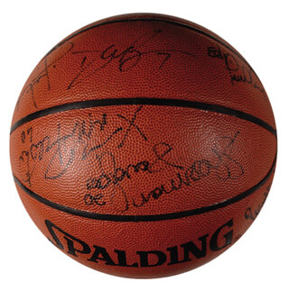 Autographs: BOSTON CELTICS - BASKETBALL SIGNED CO-SIGNED BY: ROBERT PARISH, ED PINCKNEY, RICK FOX, KEVIN GAMBLE, DEE BROWN, SHERMAN DOUGLAS, XAVIER MADANIEL, MATT WENSTROM, JIMMY OLIVER