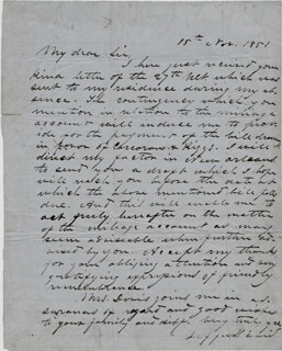 Autographs: PRESIDENT JEFFERSON DAVIS (CONFEDERATE STATES OF AMERICA) - AUTOGRAPH LETTER SIGNED 11/15/1851