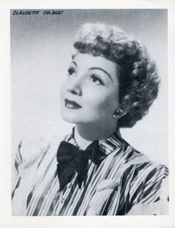 CLAUDETTE COLBERT - PHOTOGRAPH UNSIGNED
