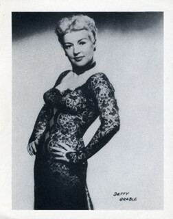 BETTY GRABLE - PHOTOGRAPH UNSIGNED