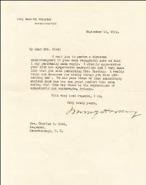 PRESIDENT WARREN G. HARDING - TYPED LETTER SIGNED 09/12/1922
