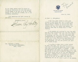 FIRST LADY FLORENCE K. HARDING - TYPED LETTER SIGNED 06/10/1922