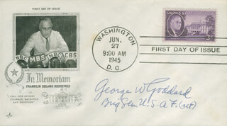 BRIGADIER GENERAL GEORGE W. GODDARD - FIRST DAY COVER SIGNED