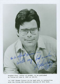 STEPHEN KING - AUTOGRAPHED INSCRIBED PHOTOGRAPH 01/14/1988