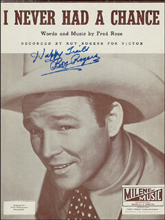 ROY ROGERS - SHEET MUSIC SIGNED