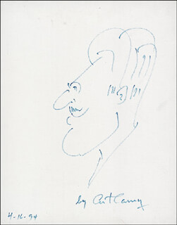 Autographs: ART CARNEY - SELF-CARICATURE SIGNED 04/16/1994