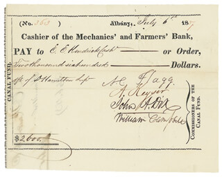 MAJOR GENERAL JOHN A. DIX - AUTOGRAPHED SIGNED CHECK 07/06/1837 CO-SIGNED BY: AZARIAH C. FLAGG, ABRAHAM KEYSER JR., WILLIAM CAMPBELL, E. E. KENDRICK