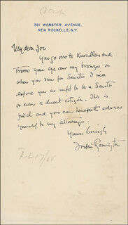 FREDERIC REMINGTON - AUTOGRAPH LETTER SIGNED 02/17/1905