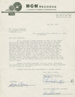 GEORGE SHEARING - DOCUMENT SIGNED 05/24/1950