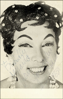 Autographs: JOSEPHINE BAKER - PRINTED PHOTOGRAPH SIGNED IN INK 1968