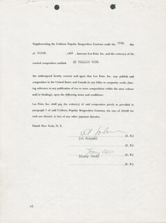 AL JOLSON - DOCUMENT SIGNED 03/29/1944 CO-SIGNED BY: HARRY AKST