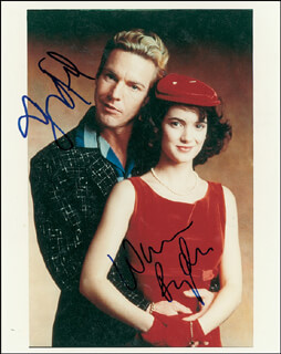 GREAT BALLS OF FIRE MOVIE CAST - AUTOGRAPHED SIGNED PHOTOGRAPH CO-SIGNED BY: DENNIS QUAID, WINONA RYDER