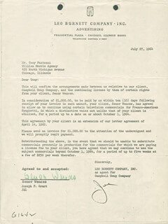 SEÑOR WENCES - DOCUMENT SIGNED 06/27/1964