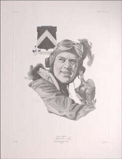 COLONEL HUBERT ZEMKE - PRINTED ART SIGNED CO-SIGNED BY: J. G. KECK