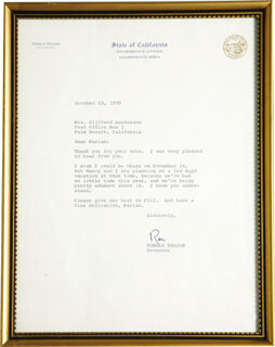 PRESIDENT RONALD REAGAN - TYPED LETTER SIGNED 10/23/1970