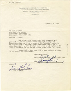 Autographs: DAN HOSS BLOCKER - DOCUMENT SIGNED 09/01/1961