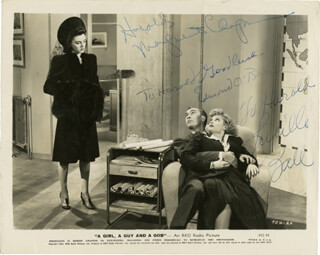 Autographs: A GIRL, A GUY AND A GOB MOVIE CAST - PHOTOGRAPH SIGNED CO-SIGNED BY: EDMOND O'BRIEN, LUCILLE LUCY BALL, MARGUERITE CHAPMAN