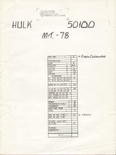 THE INCREDIBLE HULK TV CAST - AUTOGRAPH MUSICAL MANUSCRIPT SIGNED CO-SIGNED BY: JOE HARNELL