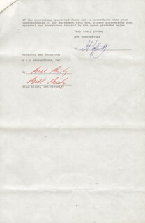 Autographs: BILL BIXBY - CONTRACT DOUBLE SIGNED 08/25/1977