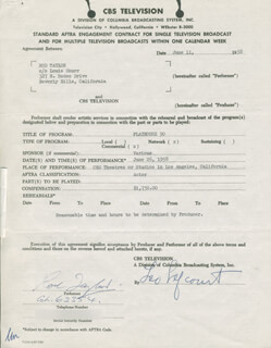 ROD TAYLOR - CONTRACT SIGNED 06/11/1958