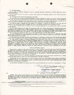 FRED MacMURRAY - CONTRACT SIGNED 10/14/1980